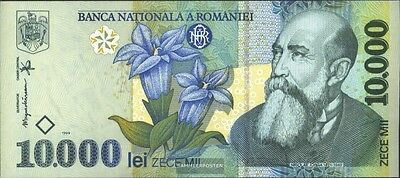Romania Pick-number: 108a mint UNC 1999 10.000 Lei Flowers
