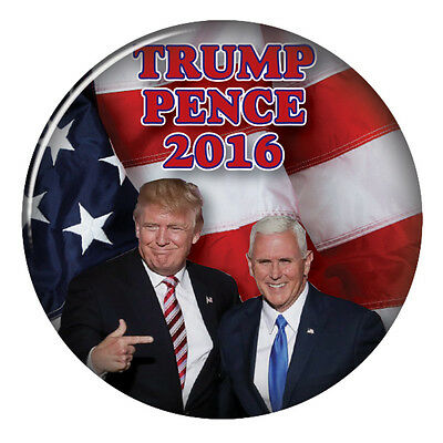 """Donald Trump / Mike Pence Campaign 3"""" Pinback Button Vote For President 2016"""