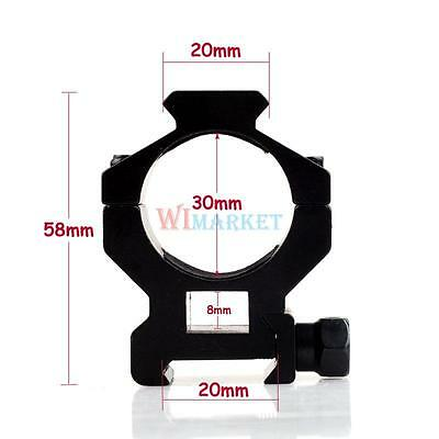 1Pair Tactical Rifle 30mm High QD Scope/Flashlight Ring Mount for Hunting