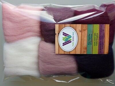 Orchid set* Wool Tops for Felting, packs 6 colours: white pink lilac purple 30g
