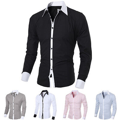 Fashion Men Luxury Stylish Casual Dress Slim Fit T-Shirt Casual Long Sleeve Top