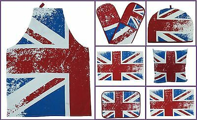 Modern Union Jack Kitchen Accessories, Tea Towel,Oven Glove,Apron,Placemats