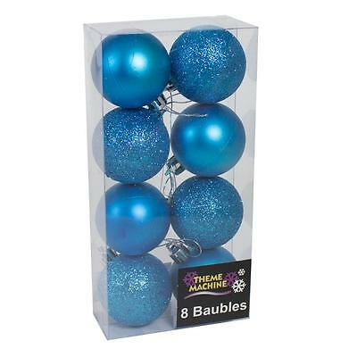 Christmas Decoration 8 Pack 50mm Glitter / Plain Baubles - Blue