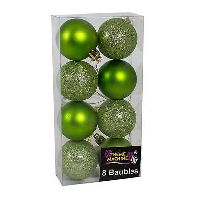 Christmas Decoration 8 Pack 50mm Glitter / Plain Baubles - Green