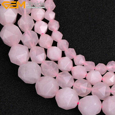 """Chic Natural Faceted Gemstone Genuine Rose Quartz Beads For Jewelry Making 15"""""""