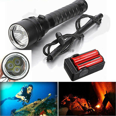 8000Lm 3x XM-L2 T6 LED Underwater 120M Scuba Diving 18650 Flashlight Torch Lamp