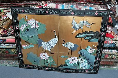 Set @ 4 Vintage Asian Chinese Panels Screen painted wood Lacquer bird blossoms