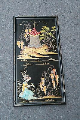 """Vintage Asian Chinese ? Japanese Geisha Panel Painting wood Lacquer 11"""" x 21"""""""