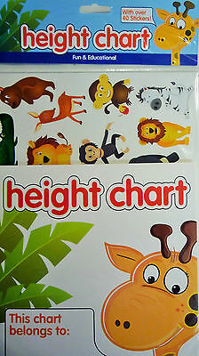Childrens Giraffe & Animals Height Chart with over 40 Stickers. Educational