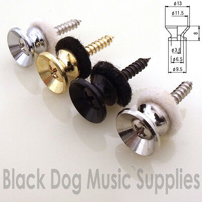 Quality guitar strap pin button in chrome black or gold retro shape
