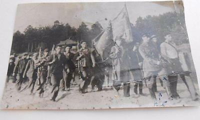 WWII soldiers marching SERBIAN Yugoslavia 1939 photograph w/ information on back