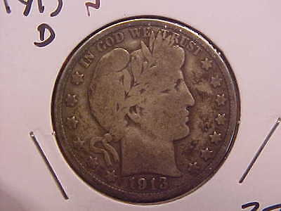 1913 D Barber Half Dollar - Color - Vg - See Pics! - (N2586)