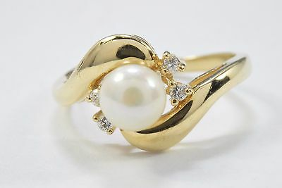 Women's Pearl Natural Mined H/SI1 Diamonds .06 ct Cocktail Ring 14k Solid Gold