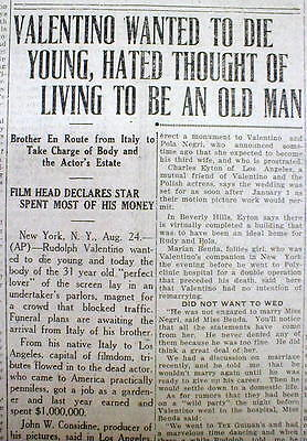 1926 newspaper DEATH of Silent Movie Star RUDOLPH VALENTINO The Shiek @Young Age