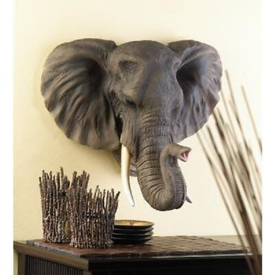 Exotic African Elephant Trophy Pachyderm Replica Wall Sculpture