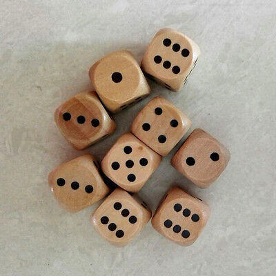 10Pc 16mm Wooden Cubes Square Game Dice Board Games Bar Party Toy