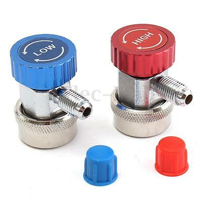 R134A AC Quick Coupler Adapters High and Low Type Manifold Gauge Auto Set W/ Cap