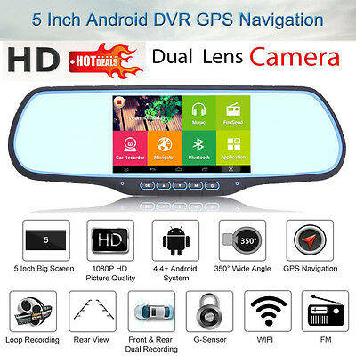 "5"" Android WIFI Dual Lens Car DVR Dash GPS Navi Rearview Mirror Camera HD 1080P"