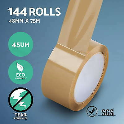144 Rolls Packing Tape Brown Sticky Box Carton Shipping Storage Packaging