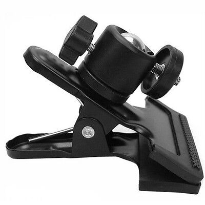 Hot Shoe Sping Clamp Clip w/ Ball Head Socket Fr Light Stand Camera Flash Studio