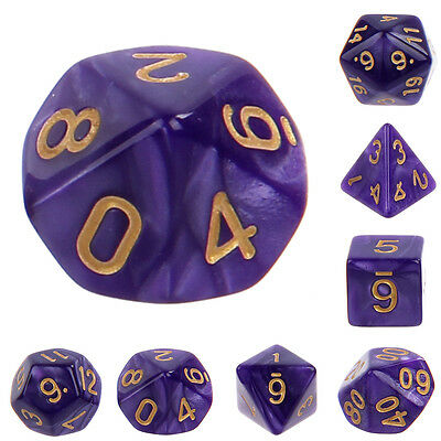 7pcs Multifaceted Digital Dice Games and more Looking Board Game Toys Purple