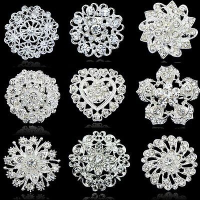 Bling Bling Wedding Bouquet Flower Rhinestone Crystal Brooch Pin Unisex Gifts