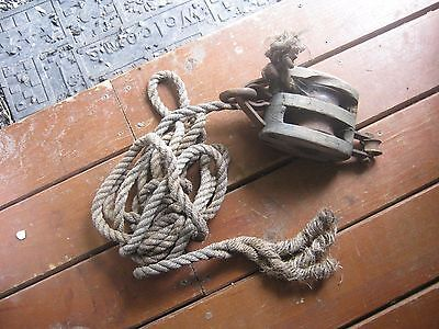 "Vintage Wood Pulleys with 2 Hooks 1/2"" thick 16 FT long Manila Rope"