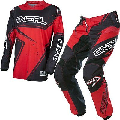 New 2017 Oneal Element Motocross Kit Combo Jersey & Pants Racewear Black Red