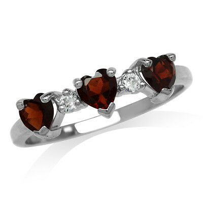 Natural Heart Shape Garnet & White Topaz 925 Sterling Silver Ring