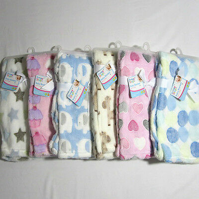 Baby Babies Clothes Soft Animals Shapes Pink Blue Cream White Blanket Wrap