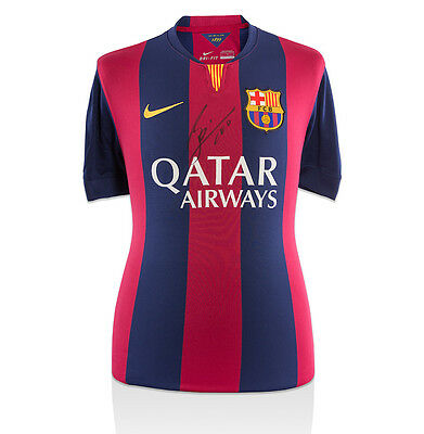 Lionel Messi Front Signed Barcelona Home Shirt 2014/2015 Autograph Jersey