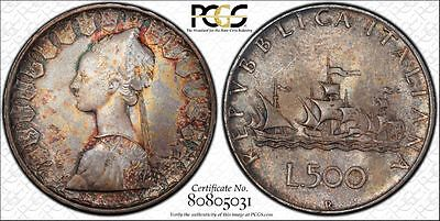 Italy 500 Lire 1958 R MS66 PCGS silver KM#98 Columbus Ship Crackled RAINBOW