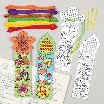 Autumn Cross Stitch Bookmark Kits Creative Craft Set for Children (Pack of 4)