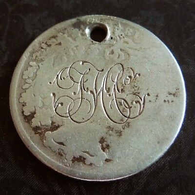 Victorian Monogrammed THC SHC  SIXPENCE LOVE TOKEN Hand-Engraved Coin Charm