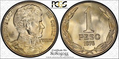Chile 1 Peso 1976 MS65 PCGS copper-nickel KM#208 Very Scarce in Condition