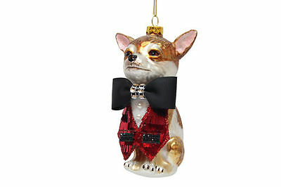79-80577 Chihuahua Bow Tie Suit Dog Glass Ornament December Diamonds Christmas