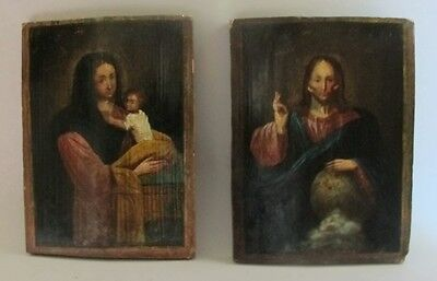 Pair of Antique 19th C. RUSSIAN or GREEK Icon Paintings of Mary, Child & Jesus