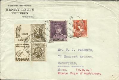 Belgium Sc#202(x2+2 Labels-from booklet pane)#230,#246 WETTREN 28/10/193