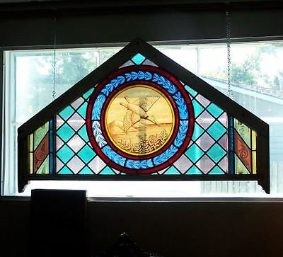 Pair Fancy Antique Stain Glass Windows Fish and Duck Designs