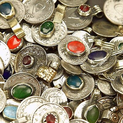 80 real Jeweled COINS Tribal Belly Dance Kuchi - MIXED (( polished ))