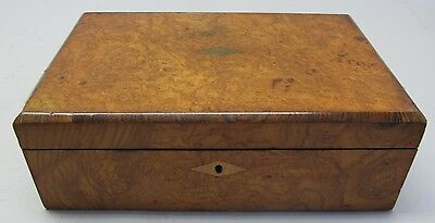 Fine ANTIQUE ENGLISH Burl Wood Velvet-Lined Lap Desk  c. 1870