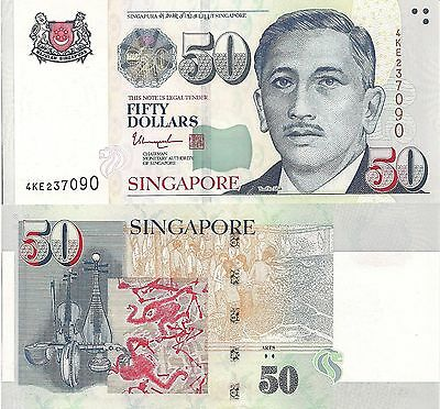 SINGAPORE 50 Dollars Banknote World Paper Money UNC Currency Pick p-49g Arts $