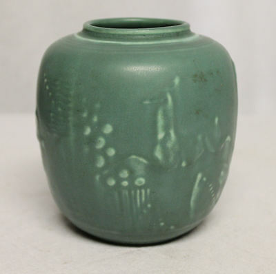 Antique Green Rookwood Vase with Stag Deer Arts & Crafts Style
