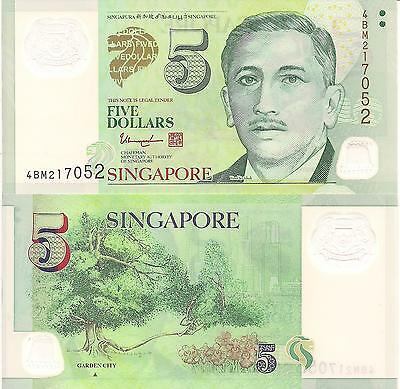 SINGAPORE 5 Dollars Banknote World Paper Money Currency Pick p-47d Garden City $