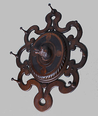 Victorian Walnut Antique Wall Mount Hall Mirror with Dog Carving