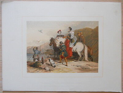 "Edwin Landseer ""The Hawking Party"", 19th Century Hand-Colored Antique Engraving"