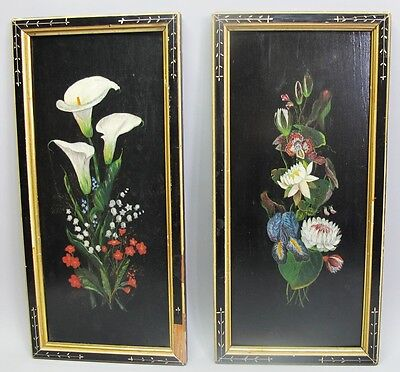 Antique Pair of VICTORIAN Hand-Painted Panels w/ Aesthetic Style Frames  c. 1880
