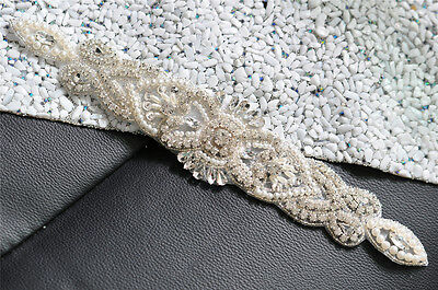 208A Bridal Sash Belt Rhinestone Crystal Bead Applique,Wedding Dress Accessories