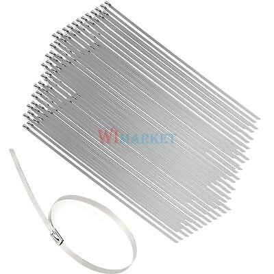100Pcs Stainless Steel Cable Zip Ties Wrap Strap Locking Exhaust Pipe Header 12""