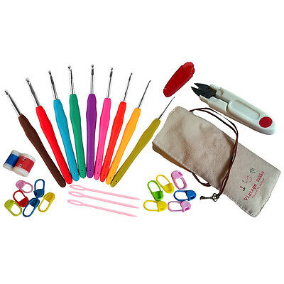 Colorful Soft Handle Aluminum Crochet Hooks Knitting Set Household Tool DS